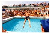 Crown Princess ship:belly flop of the day.