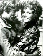 """Actors Samantha Eggar and Alex Cord in their roles for the movie """"The Etruscans Kill Again"""" recorded in Rome."""