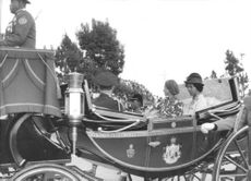 Prince Laurent sitting on a royal cart.