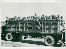 German prisoners inside a truck.