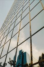 Skyscrapers with mirrored walls.