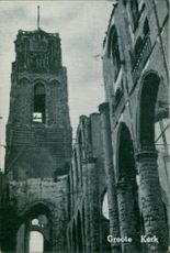 A ruined church in Rotterdam Netherlands during World War II, 1940.
