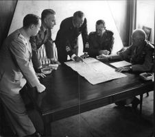 Bernard Montgomery with other generals in discussion, October 1954.