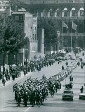 A military parade on street of Sweden. 1967