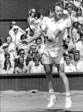 Rod Laver during the match against Butch Seewagen in Wimbledon in 1970