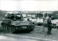 Members of Britain's crack SAS troops, completely with Scorpion tanks, patrolling Heath row airport. 1986.