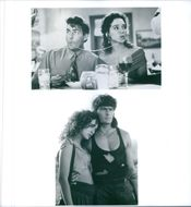 Two scenes of an American actor Carlos Irwin Estévez  and an Italian actress and director Valeria Golino from the film Hot Shots! Part Deux. 1993