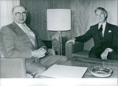 Menachem Begin, the Israeli Prime Minister (left), receives President Carter's Special Middle East Envoy, American lawyer Sol Linowits, in an effort to restart the stalled Palestinian autonomy talks, 1980.