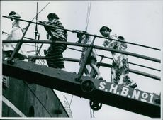 Japanese boarding the liner.