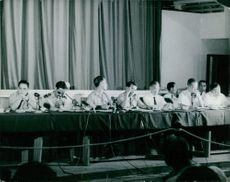People in a press conference in Vietnam. 1965