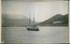 Boat in the river, on the move in Montenegro. 1916