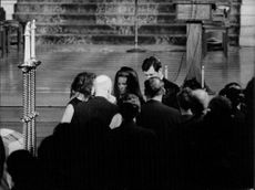 Jacqueline Kennedy Onassis in Saint Patrick's Cathedral on death ceremony.