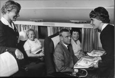 When the North Pole is passed, passengers receive small placemats with Eskimos from the flight attendants.