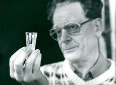 Älghult glassware: Comrades Remi Persson displays a small glass as Indira Gandhi ordered