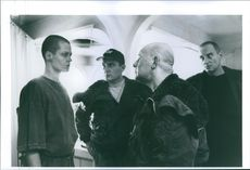 """Sigourney Weaver, Ralph Brown, Brian Glover and Charles Dance in a scene from the film """"Alien 3"""", 1992."""