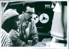 """Charlie Sheen and Tony T. Johnson in the film """"The Arrival"""", 1996."""