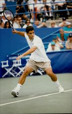 Action shot on Pete Sampras taken during the US Open 1994.