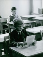 Crown Prince Carl Gustaf of Sweden at school.