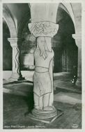 Giant Finn in the crypt in Lund Cathedral - postcard