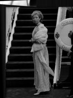 """Princess Christina at dinner aboard the ship """"Brittania"""" at the invitation of Queen Elizabeth of Great Britain"""