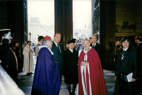 President Jacques Chirac together with his wife Bernadette during a memorial ceremony of François Mitterrand in the cathedral