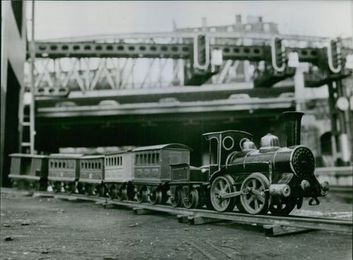 Photo of a realistic looking toy train.