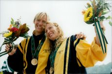 OS in Atlanta 1996. Susanne Gunnarsson and Agneta Andersson take gold in the canoe