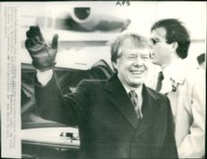 President-elect Jimmy Carter arrives at Washington National Airport