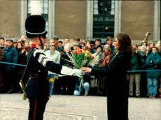 Crown Princess Victoria receives a flower bouquet on her name's day
