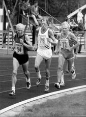 Three elder gentlemen compete for 100 meters.