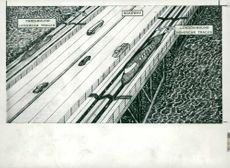 Drawing of Hovercar on the projected Channel bridge