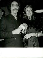 Actress Samantha Eggar along with Jon Kass at a Hollywood party.