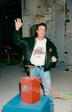 Sylvester Stallone at the inauguration of Planet Hollywood