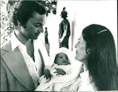 King Carl Gustaf with Queen Silvia and newborn