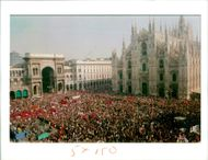 Italy Demonstrations: Downtown Milan's Duomo square is packed.