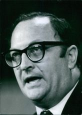 1969 British Union Leaders Clive Jenkins General Secretary, Association of Supervisory Staffs, Executives and Technicians since 1961 communicating with someone.