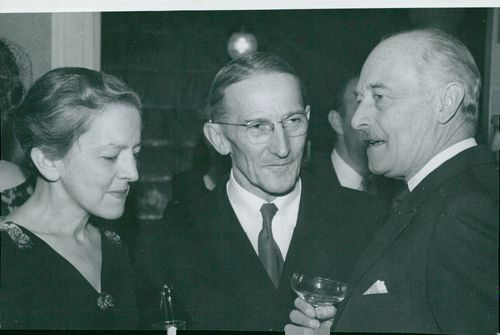 Jaroslav Heyrovsky and his spouse Marie in conjunction with Nils Ståhle