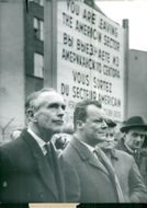Britain's Foreign Minister Lord Alec Douglas-Home at the Berlin Wall together with Willy Brandt