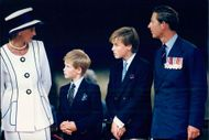 Prince Charles, Princess Diana and the sons Prince William and Prince Harry