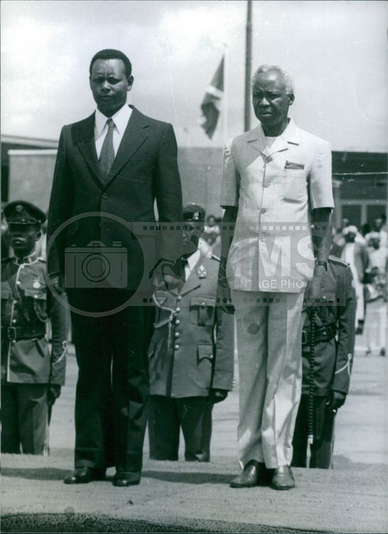 Julius Nyerere with his guest Jean-Baptiste Bagaza at Dar-es-Salaam airport, 1980.