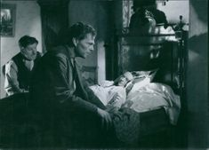 Sture Lagerwall in a movie scene Jacobs stege (Jacob's Ladder), 1942.