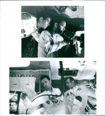 """Tom Hanks, Kevin Bacon and Bill Paxton in the scenes of the movie, """"Apollo 13""""."""