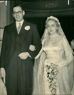 Hon. Rodney Berry and his bride formerly Miss Jenifer Fearnley-Whittingstall.
