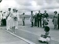 Elizabeth II standing and looking at the little girl and smiling, photographers taking pictures.