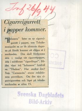 """""""Habanera"""" is a new cigar cigarette in paper. The picture shows two """"habaneror"""" letterdoms a """"Hudson"""""""