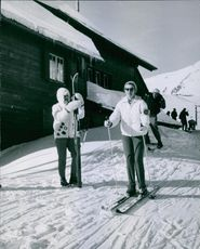 Princess Birgitta of Sweden and Hohenzollern photographed skiing.