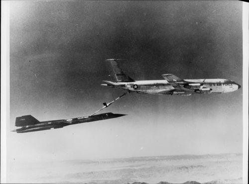 Aerial Refueler. A Strategic Air Command SR-71 is refueled by a KC-135