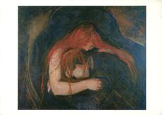 "Color on postcard by Edvard Munch's painting ""Vampire"""