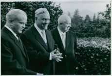 Nikita Khrushchev and Vyacheslav Molotov with unknown man.