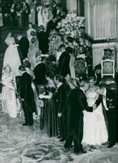 The royal couple's guests gather in the White Sea